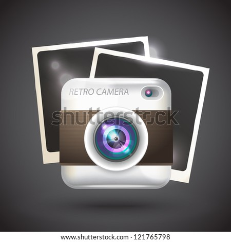 Vector realistic illustration of photo camera with pictures - stock vector