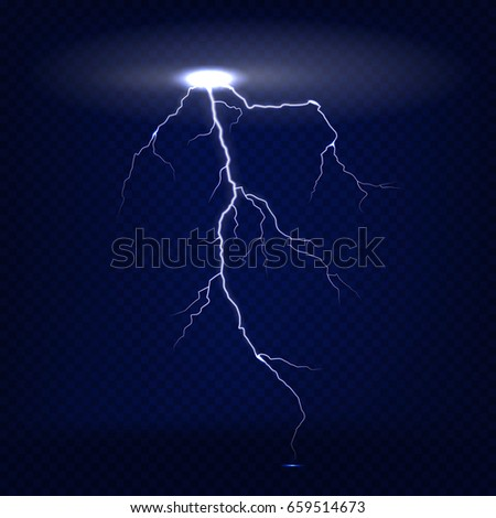 Vector realistic isolated lightning on dark blue transparent background.