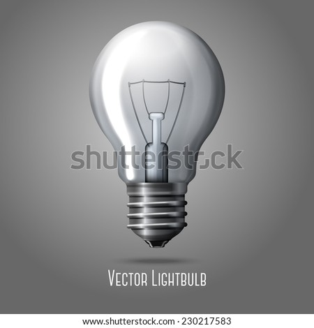 Vector realistic light bulb isolated on grey background.