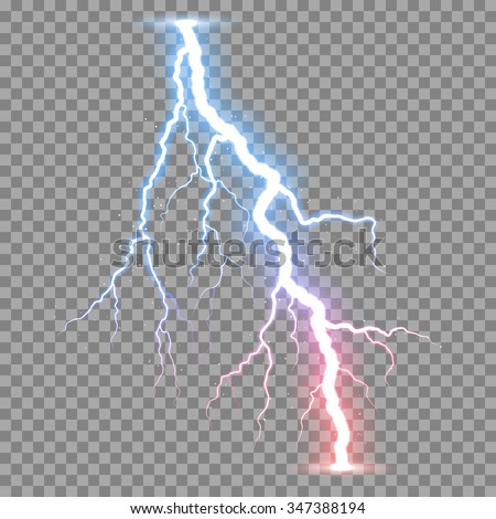 Vector realistic lightnings thunderbolt on transparent background. - stock vector