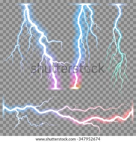 Vector realistic lightnings thunderbolt on transparent background. - stock vector