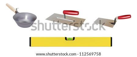 vector realistic masonry tools on white background, raster version available - stock vector