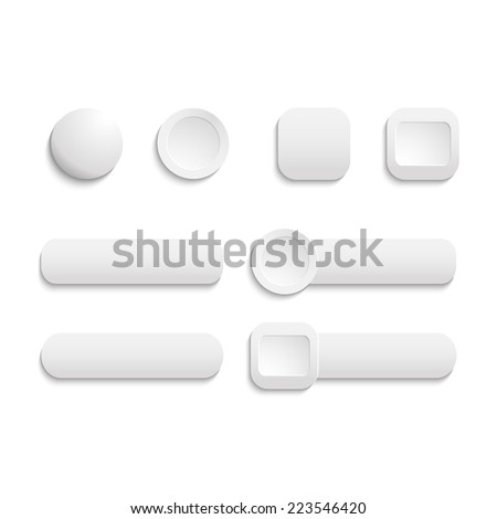 Vector  realistic Matted white color Web  buttons  symbol set isolated  on a white background - stock vector