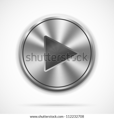 Vector realistic metallic Play Button with highlights on white - stock vector