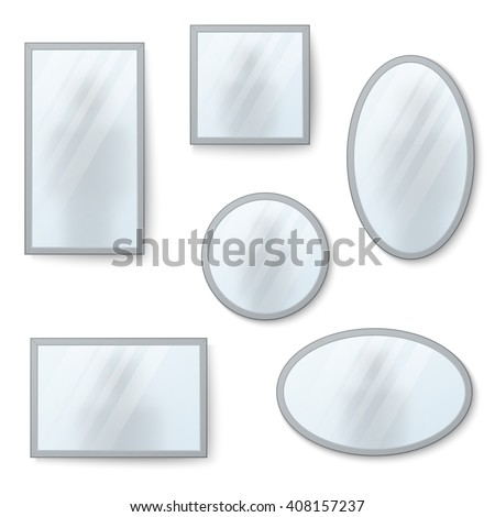 Vector realistic mirrors set with blurry reflection. Mirror frames or mirror decor interior vector illustration - stock vector
