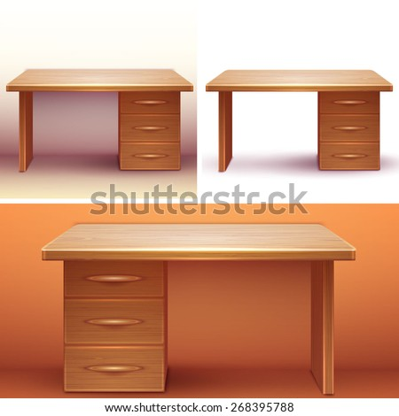 Vector realistic office wooden desk with shelves.