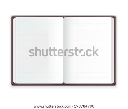 Vector Realistic Open Notebook - stock vector