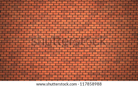 Vector realistic red brick wall, Eps10 background. - stock vector