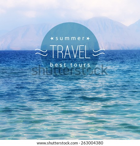 vector realistic seascape with mountains, travel background - stock vector