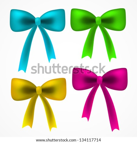Vector realistic set of colorful ribbons bow for your card, web design