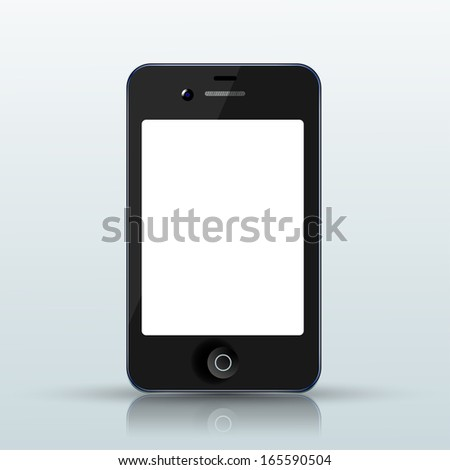 Vector realistic smartphone on blue background. Eps10 - stock vector