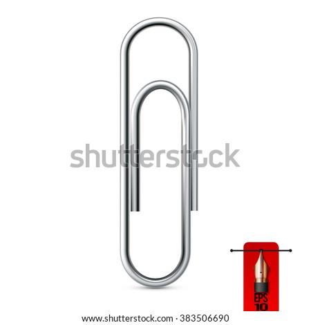 Vector realistic steel paper clip - stock vector