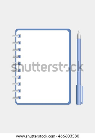 Vector Realistic Vertical Blank Spiral Notebook or Notepad and Pen near It