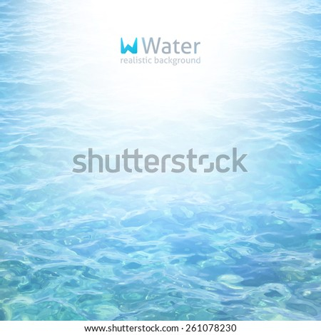 vector realistic water background in blue color - stock vector