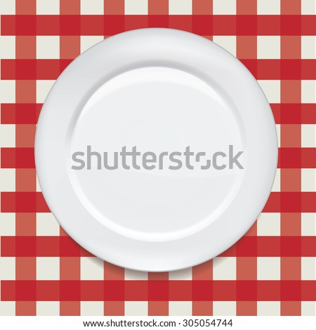 Vector realistic white plate on the plaid background. Ready for your design