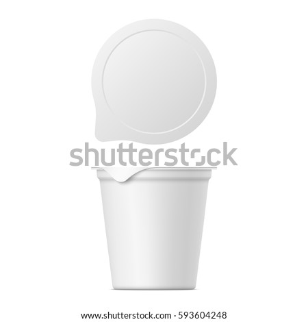 Vector realistic yogurt, ice cream or sour creme package on white background. 3D mock up of container with lid isolated. Template for your design. Top and front view.