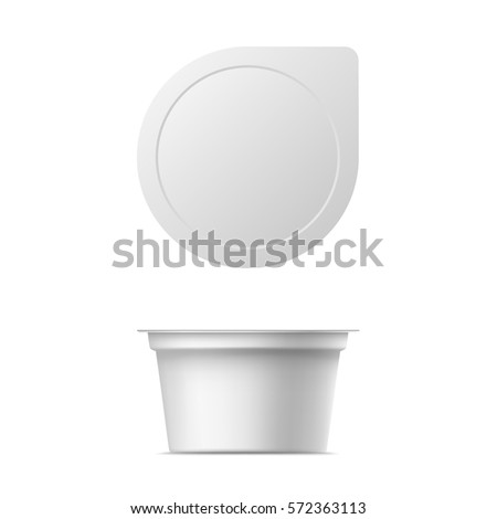 Vector realistic yogurt package. Isolated mock up on white background.