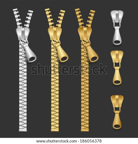 Vector realistic zippers type set of illustration - stock vector