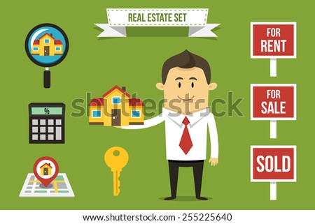 Vector realtor with set of real estate icons. Each object can be placed in his hand. - stock vector
