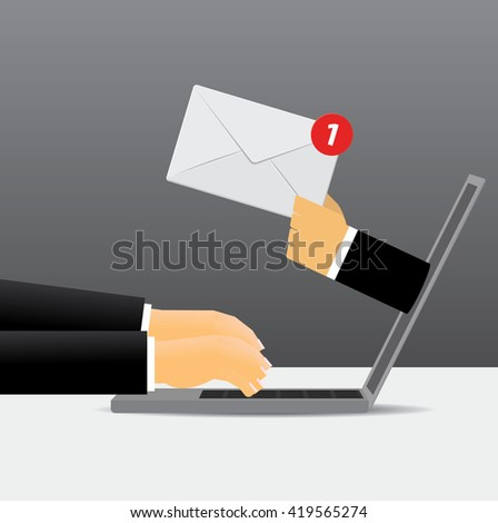 Vector receive mail  - stock vector