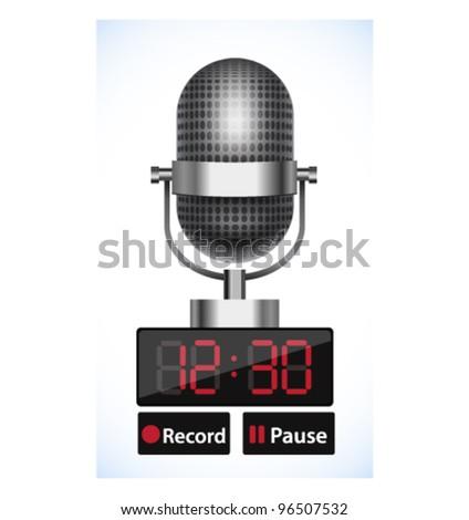 Vector recorder with retro microphone - stock vector