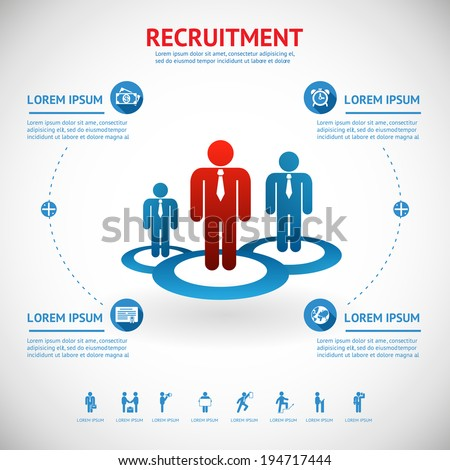 vector recruitment and human resource infographics template with space for text - stock vector