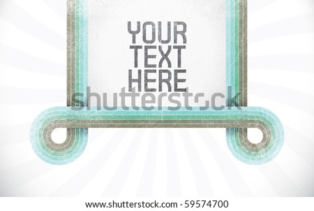 Vector rectangle for text, five color lines as frame with grunge effect and sunburst effect on background. Fully editable, grunge effect made with opacity mask.