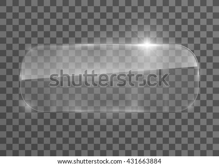 Vector rectangle glass frame with rounded corner. Isolated on transparent background. Vector illustration, eps 10. - stock vector