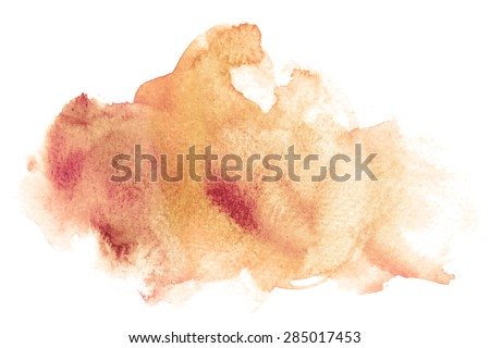 Vector rectangular brown watercolor drop. Abstract art hand paint isolated on white background. Watercolor stains.