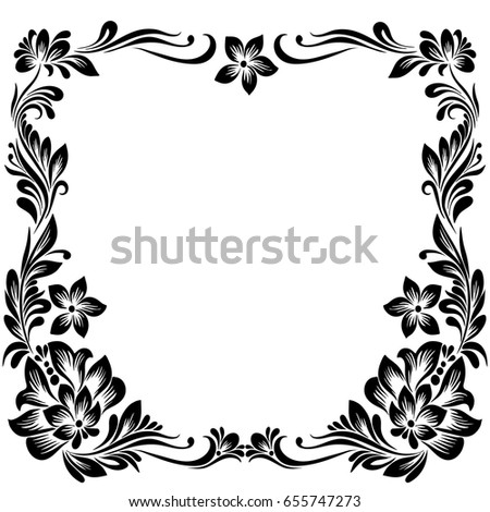 Vector Rectangular Frame For Design With A Stylized Floral Ornament Black And White Decoration In