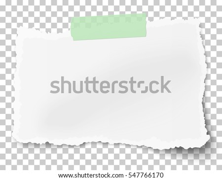Vector rectangular square ragged paper fragment with soft shadow placed on transparent checkered background.