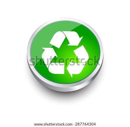 vector recycle symbol. recycle vector icon. green button. - stock vector