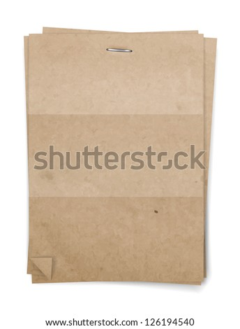 Vector recycled paper background with staple - stock vector