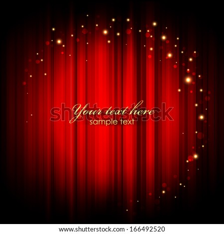 Vector red abstract background with gold lights - stock vector