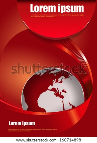 Vector red abstract brochure background with 3D with a stripe around the globe - stock vector