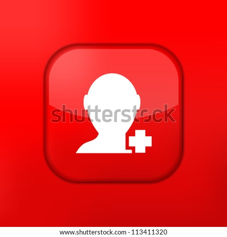 Vector red Add friend icon. Eps10. Easy to edit - stock vector