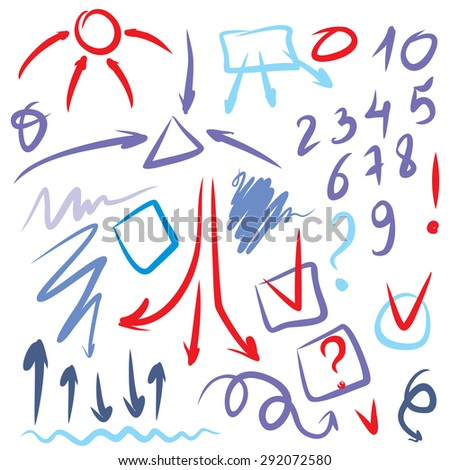 vector red and blue figures highlight pen circle, hand draw circles arrows set