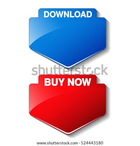 Vector red and blue web arrow button. Download and Buy now label.
