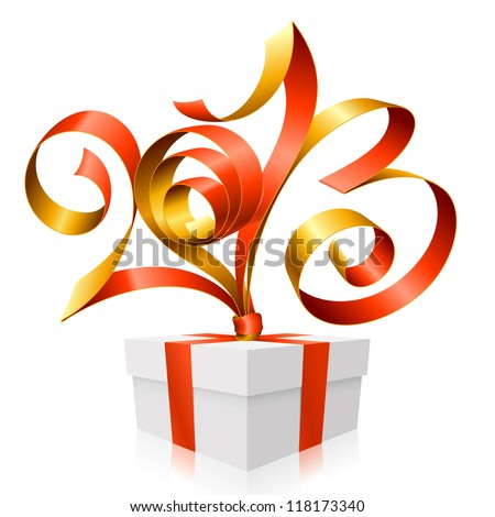 Vector red and gold ribbon in the shape of 2013 and gift box. Symbol of New Year - stock vector