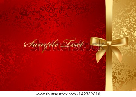 Vector red and gold textured background with bow - stock vector