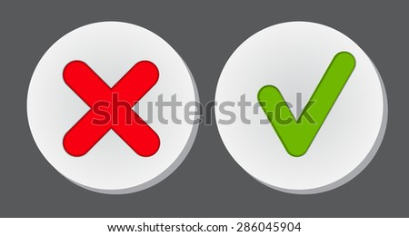 Vector Red and Green Check Mark Icons EPS10