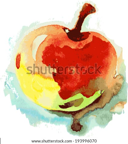 Vector red and yellow apple, watercolor painting on white background Vector red and yellow apple, watercolor painting on white background. Seamless summer pattern with apples - stock vector