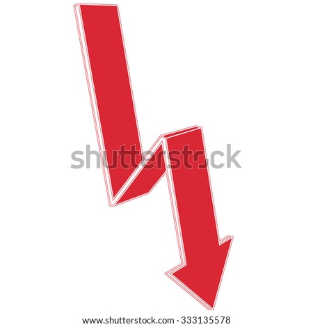 vector red arrow goes down - stock vector