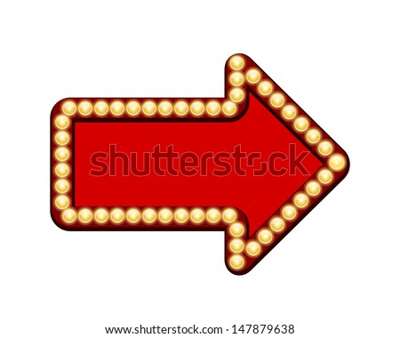 Vector Red arrow with light bulbs isolated on white background - stock vector