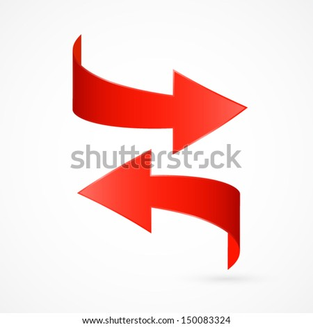 Vector Red Arrows Isolated on White Background  - stock vector