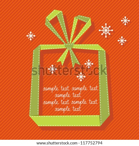 Vector red background with gift box made from green paper ribbon. Original christmas greeting, invitation card in origami style. Simple illustration for presentation with banner, snowflakes, text box - stock vector