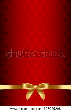 Vector red background with hearts and gold bow - stock vector