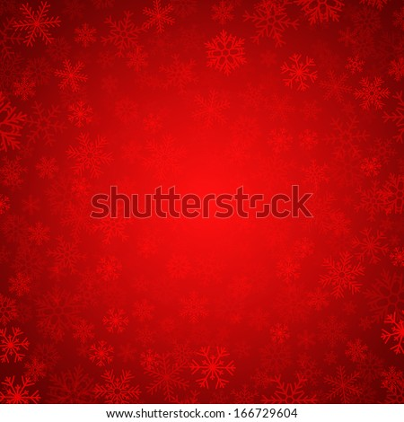 vector red background with snowflakes - stock vector