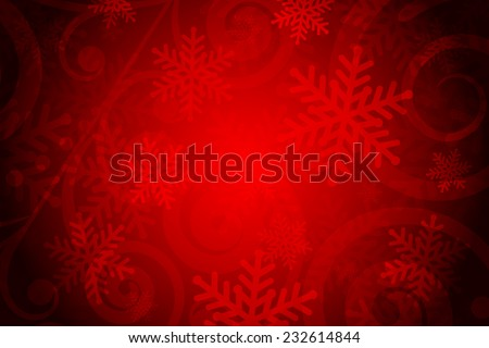 Vector red background with snowflakes