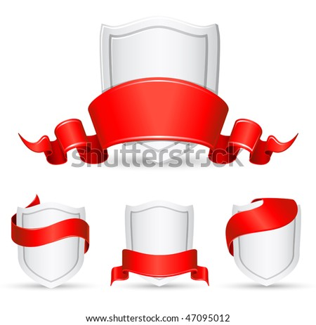 vector red banners and shield - stock vector